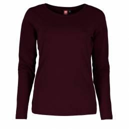 ID Interlock T-shirt med lange ærmer i blød antipillingkvalitet dame mørk bordeaux