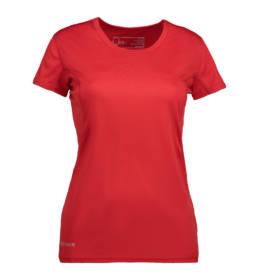 ID Kortærmet T-shirt i tyndt svedtransporterende mikrofibermateriale T-shirten er figursyet og sidder derfor tæt til kroppen rød dame