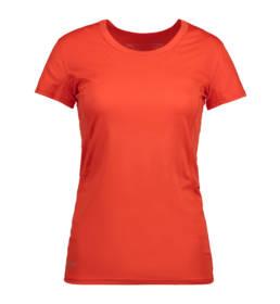 ID Kortærmet T-shirt i tyndt svedtransporterende mikrofibermateriale T-shirten er figursyet og sidder derfor tæt til kroppen orange dame