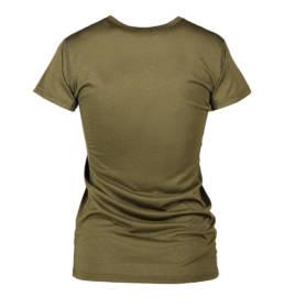 ID Kortærmet T-shirt i tyndt svedtransporterende mikrofibermateriale T-shirten er figursyet og sidder derfor tæt til kroppen dame oliven melange