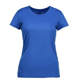 ID Kortærmet T-shirt i tyndt svedtransporterende mikrofibermateriale T-shirten er figursyet og sidder derfor tæt til kroppen dame kongeblå