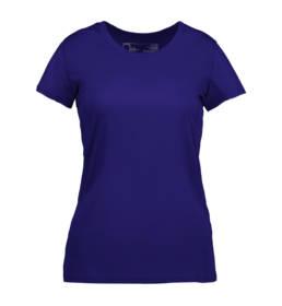 ID Kortærmet T-shirt i tyndt svedtransporterende mikrofibermateriale T-shirten er figursyet og sidder derfor tæt til kroppen dame navy