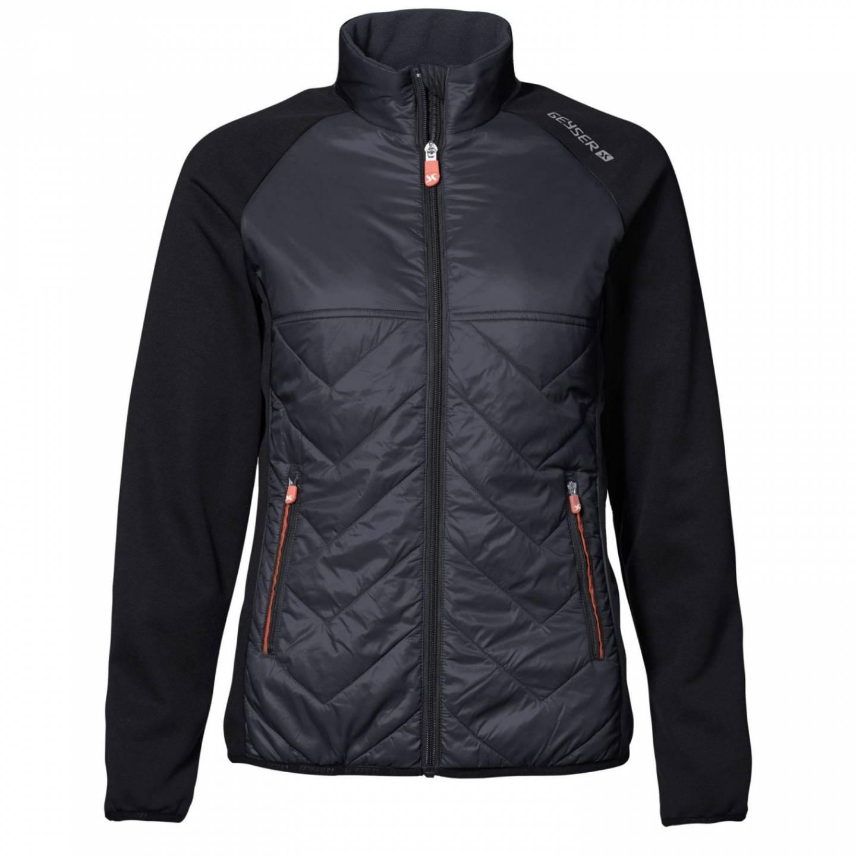 ID Eksklusiv letforet jakke i behagelig nylonkvalitet med kontrast i elastisk og flexibel metervare dame sort
