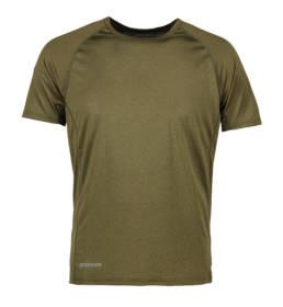 ID Kortærmet T-shirt i tyndt svedtransporterende mikrofibermateriale T-shirten er figursyet og sidder derfor tæt til kroppen herre oliven melange