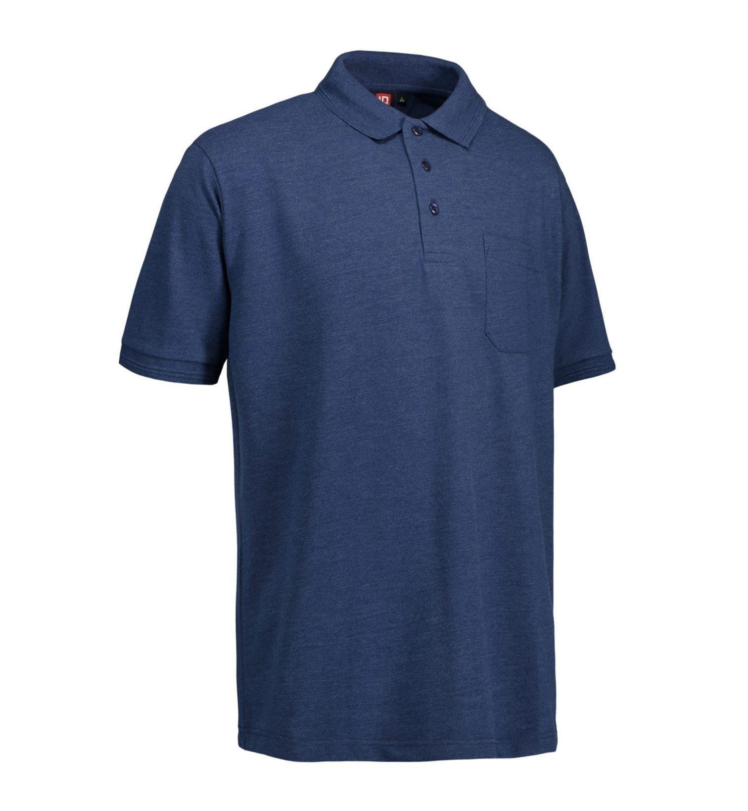ID PRO Wear slidstærk poloshirt m. lomme herre blå melange