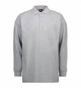 ID PRO Wear Slidstærk poloshirt med lange ærmer og brystlomme herre grå melange
