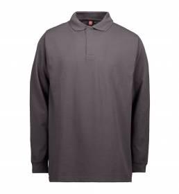 ID PRO Wear Slidstærk poloshirt med lange ærmer og trykknapper herre grå