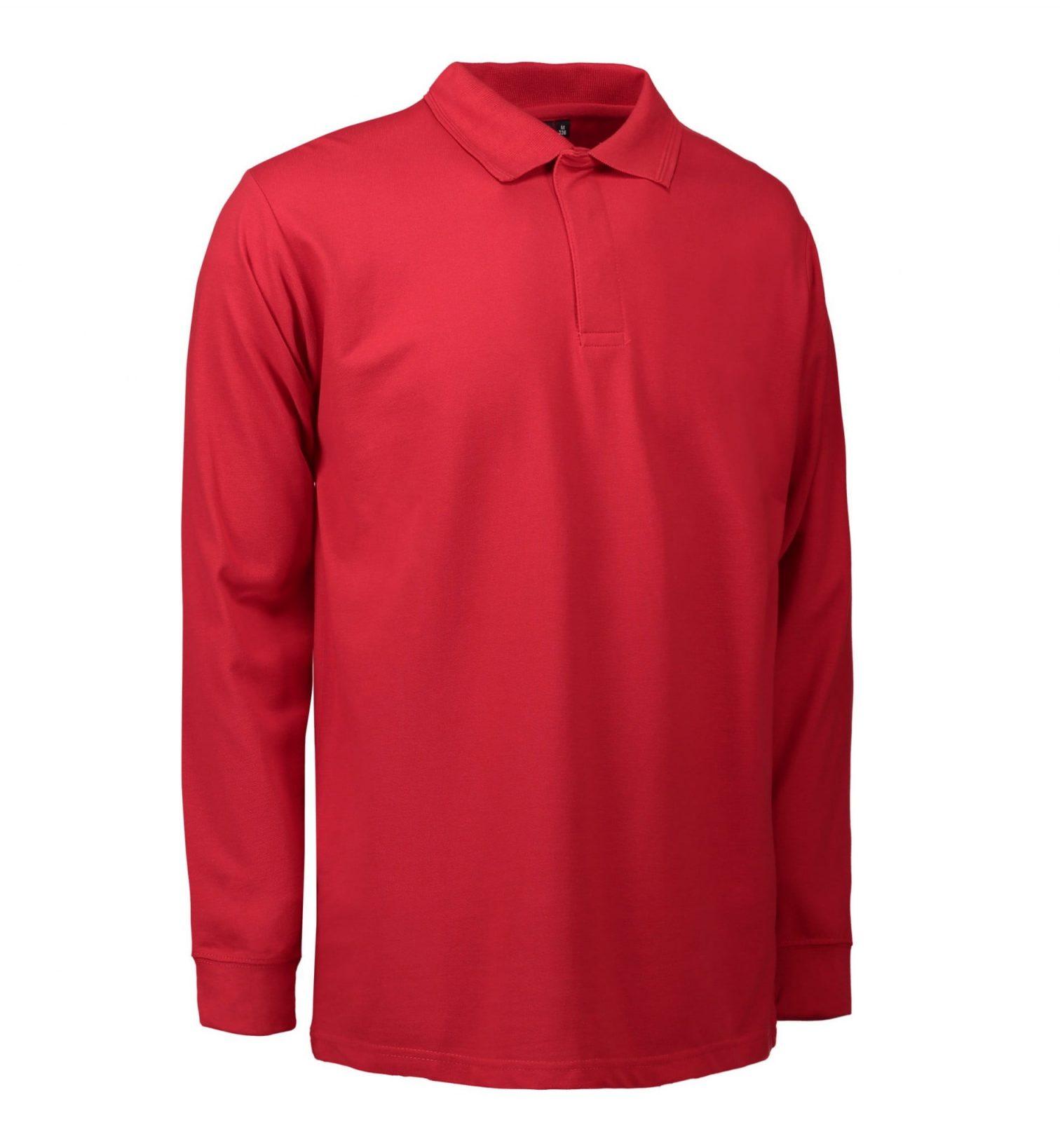 ID PRO Wear Slidstærk poloshirt med lange ærmer og trykknapper herre rød