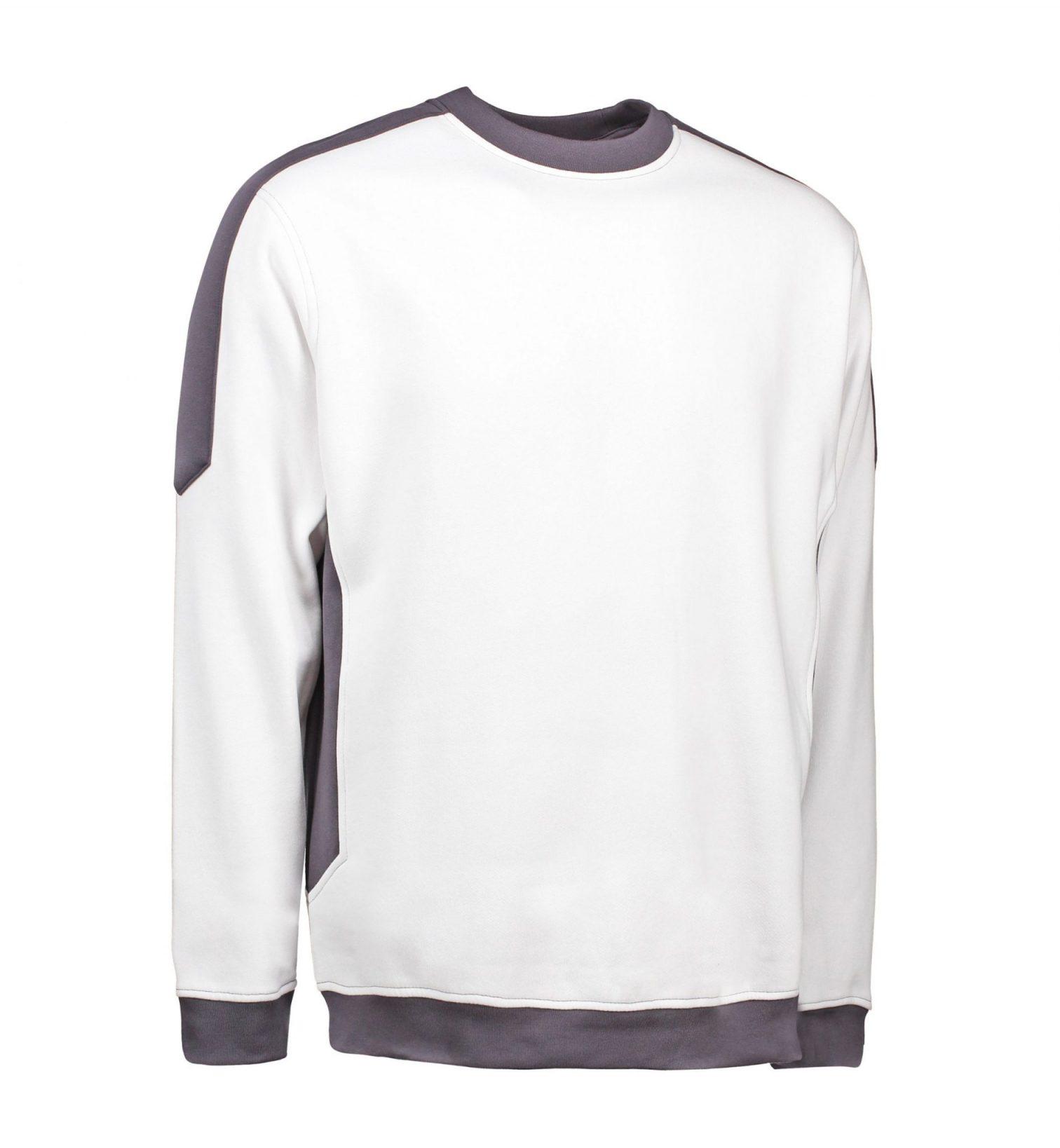 ID Ekstra slidstærk to-farvet sweatshirt med rund hals hvid