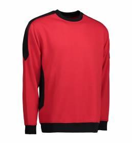 ID Ekstra slidstærk to-farvet sweatshirt med rund hals rød