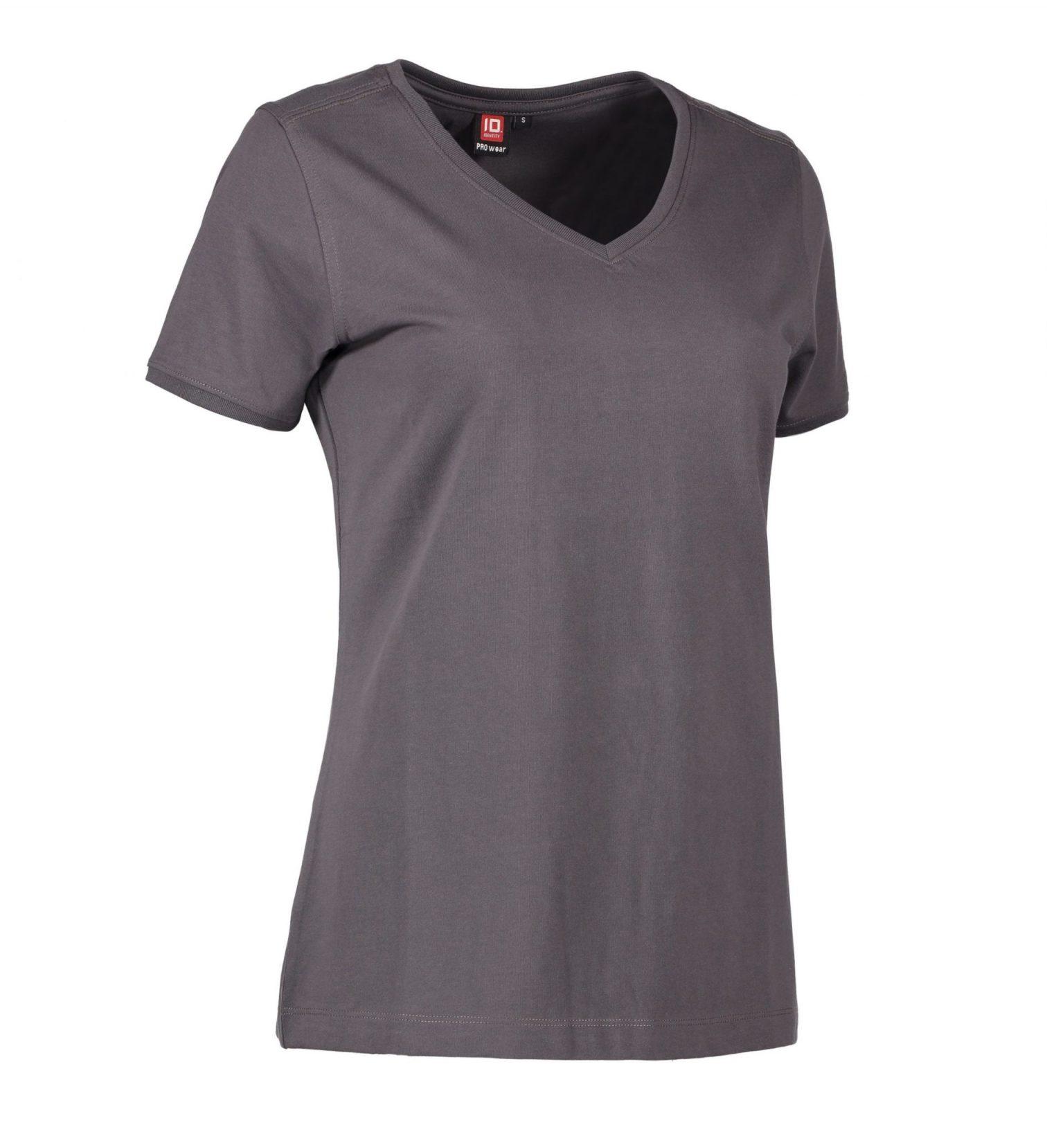 ID PRO Wear CARE T-shirt v- hals EU-Blomst certificeret dame grå