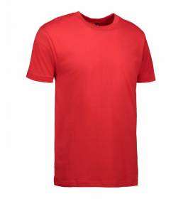 ID Klassisk T-shirt med rund hals fire lags halsrib og nakke og skulderbånd herre rød