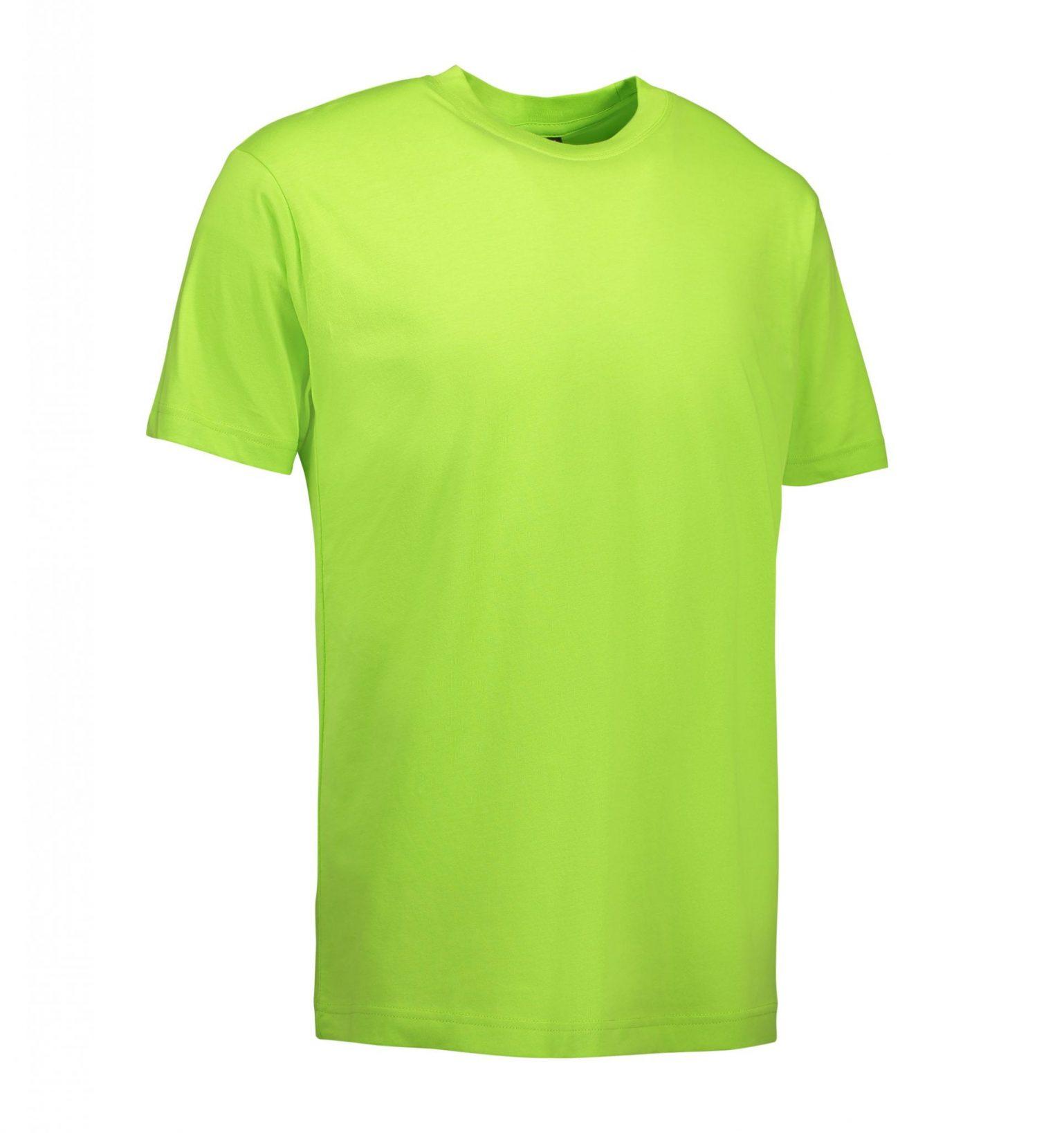 ID Klassisk T-shirt med rund hals fire lags halsrib og nakke og skulderbånd herre lime