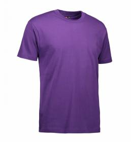 ID Klassisk T-shirt med rund hals fire lags halsrib og nakke og skulderbånd herre lilla