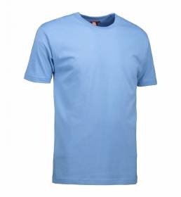 ID Klassisk T-shirt med rund hals fire lags halsrib og nakke og skulderbånd herre lys blå