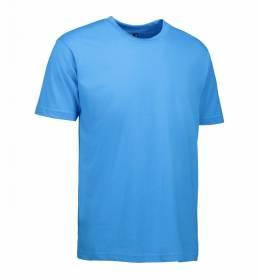 ID Klassisk T-shirt med rund hals fire lags halsrib og nakke og skulderbånd herre cyan