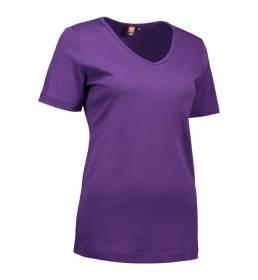 ID Kortærmet interlock T-shirt med V-hals i blød antipillingkvalitet dame lilla