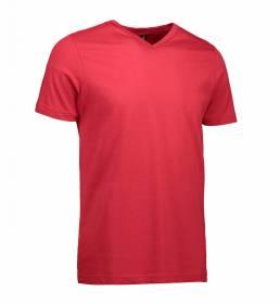 ID T-shirt med V-hals i en tætsiddende model herre rød