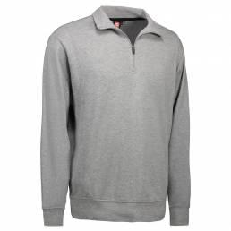 ID Sweatshirt m. lynlås i hals Unisex grå