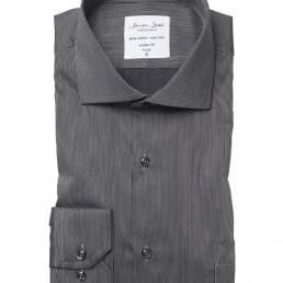Seven Seas Moderne business-skjorte i fin nålestribet twillkvalitet med Non Iron finish herre mørk grå