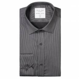Seven Seas slim fit business-skjorte nålestribet twillkvalitet Non Iron-kvalitet mørk grå