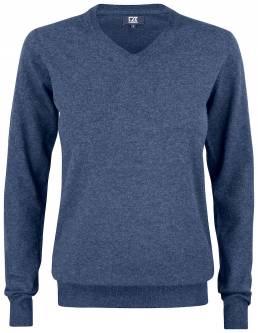 Striksweater med V-hals til den kræsne fra CUTTER & BUCK - vi tilbyder at brande den med trykt eller broderet logo